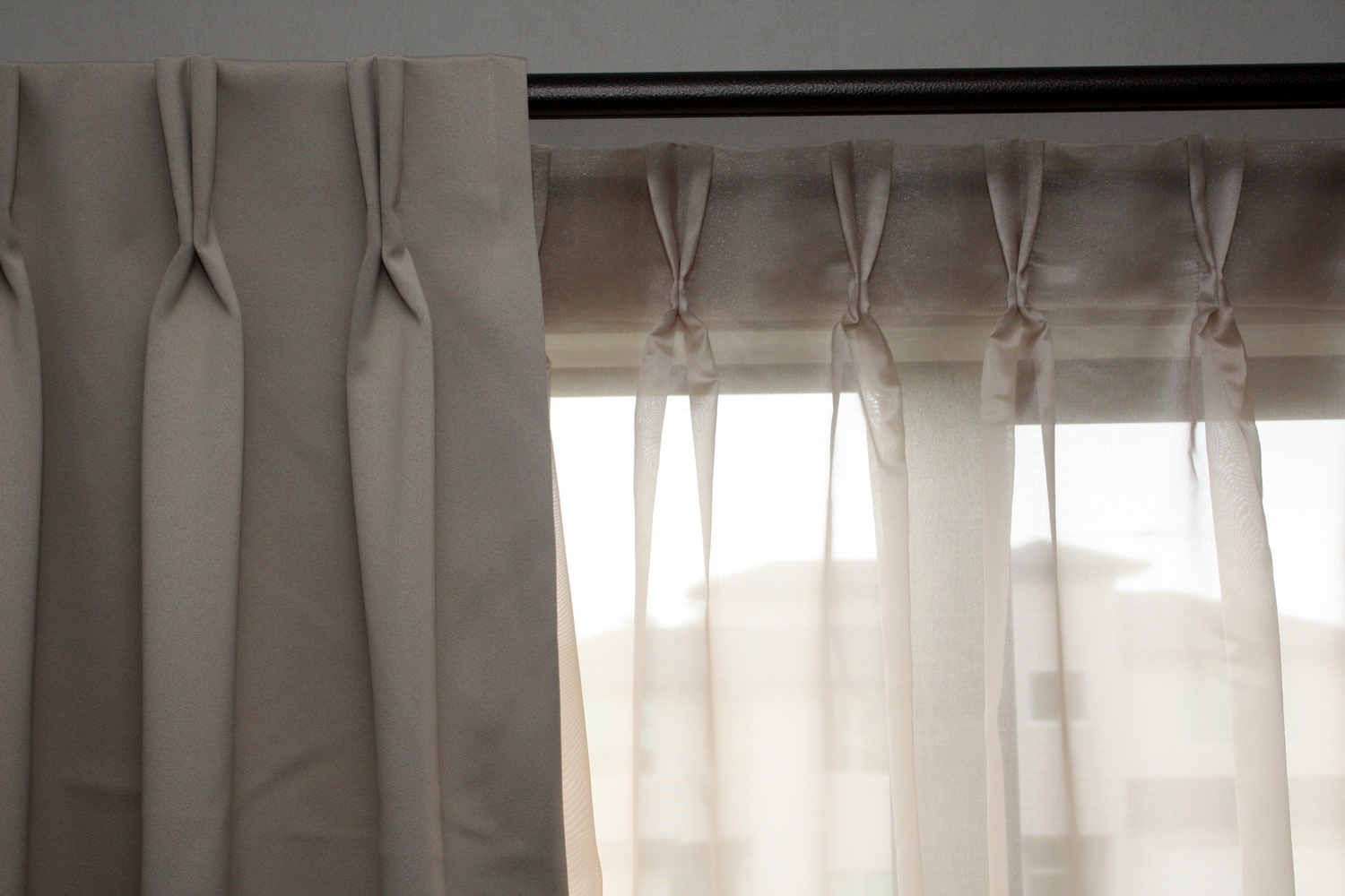 double pleat hiding curtain rings